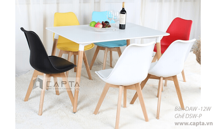 Ghế nhà hàng thân nhựa chân gỗ