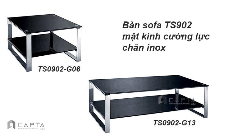 Bàn sofa vuông kính chân inox TS0902