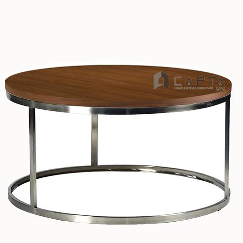 Bàn sofa mặt gỗ tròn