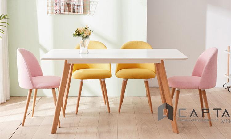 Bộ bàn ăn 4 ghế bọc vải SD LEXI12 / VELVET