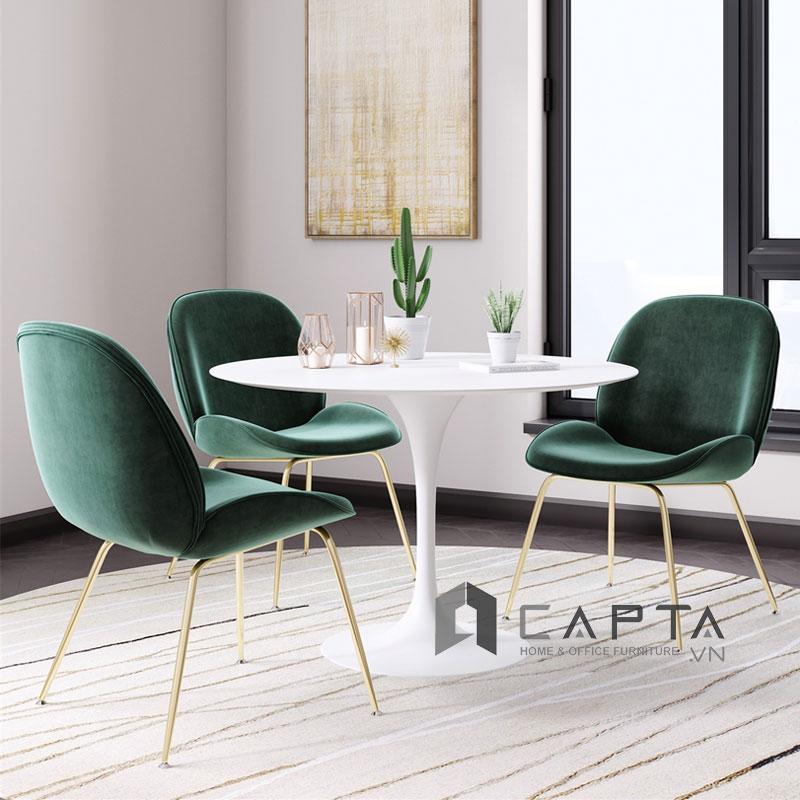Ghế phòng ăn Beetle-V bọc vải nhung chân thép mạ màu Gold
