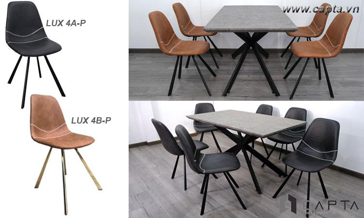 Ghế phòng ăn có nệm LUX 4A-P chân chéo hiện đại