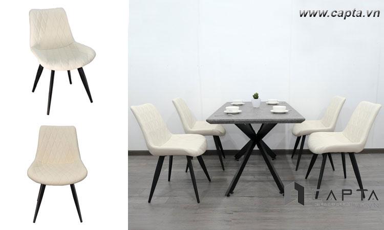 Ghế phòng ăn có nệm LUX 6A-P bọc PVC màu trắng