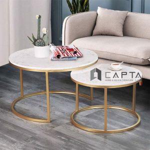 Bàn sofa cặp inox mạ Gold TS NESTED GOLD-75 cao cấp