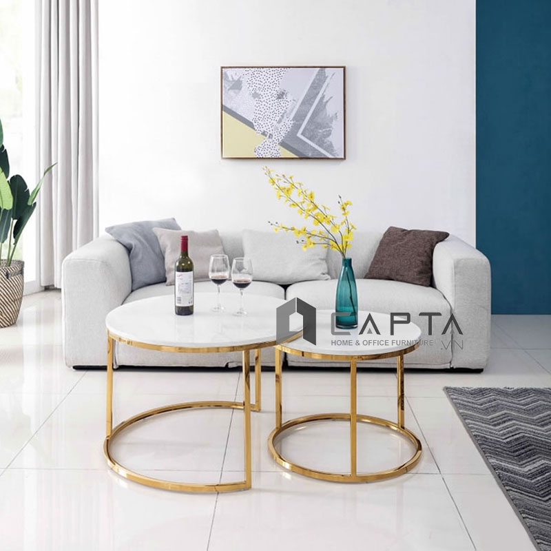 Bàn sofa đôi mặt đá chân inox mạ Vàng Gold TS NESTED GOLD-75