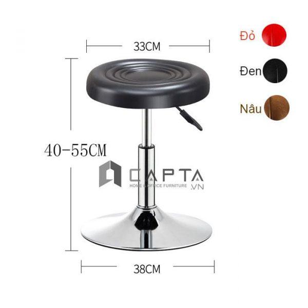 Ghế bar nệm tròn pen thấp chân mâm CB2256-1P đen