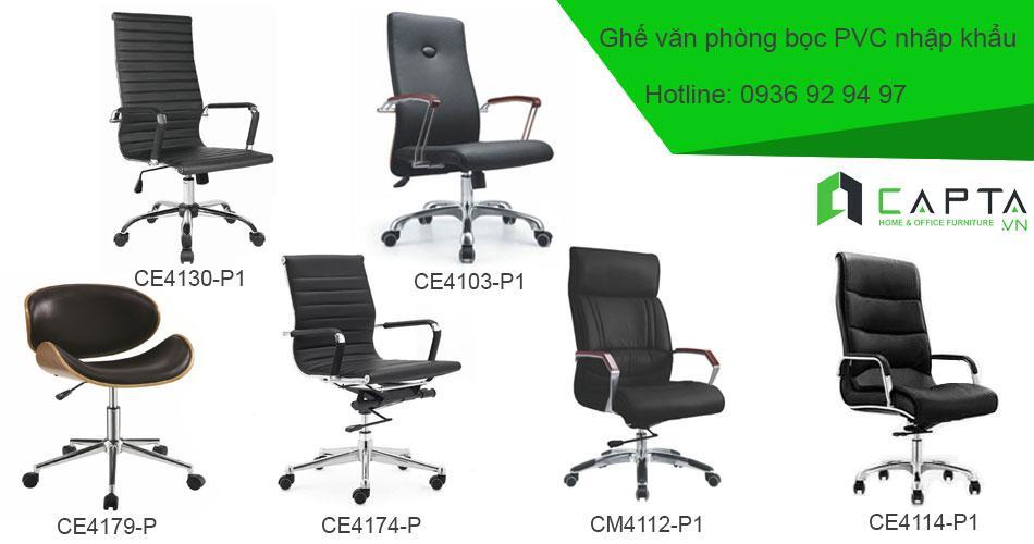 Ghế xoay văn phòng nhập khẩu chất lượng tốt tại tphcm chất liệu bọc PVC