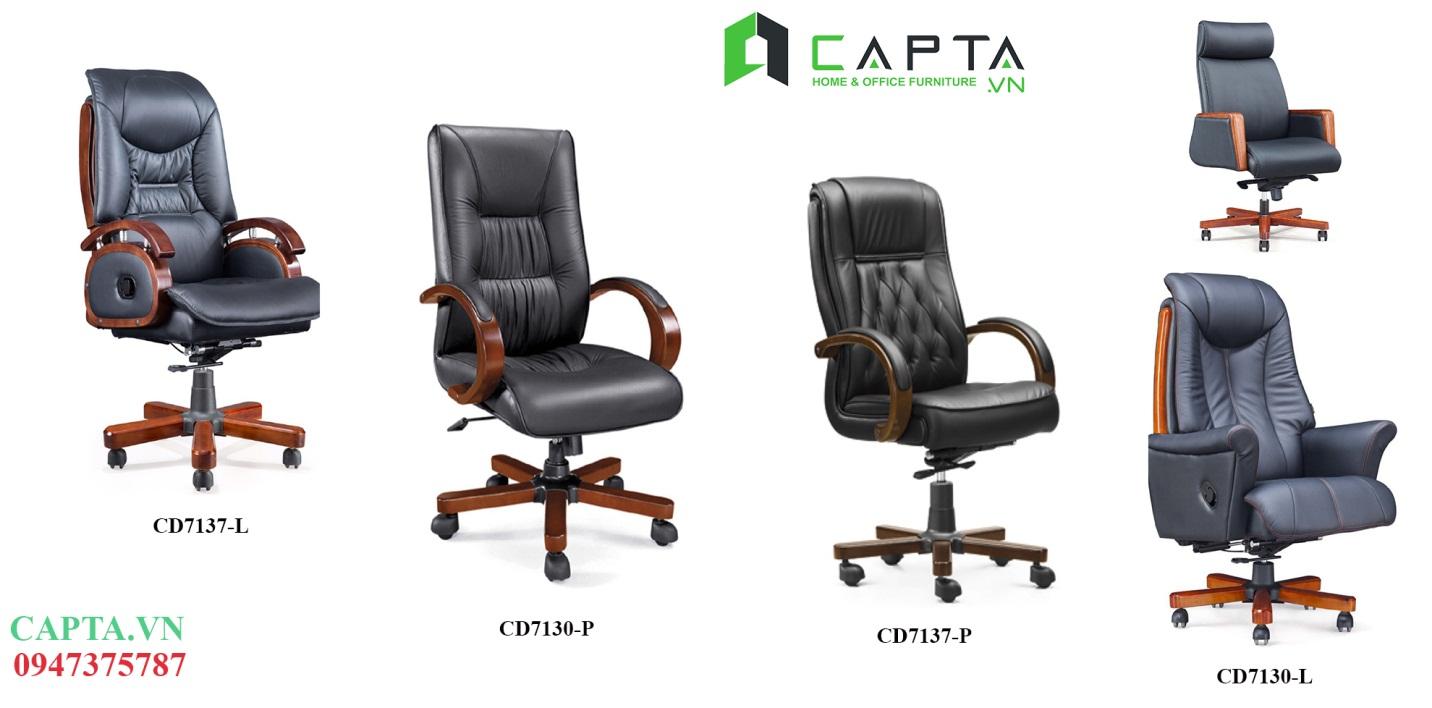 Ghế Giám Đốc bọc da tay vịn và chân ghế được làm bằng gỗ tự nhiên cao cấp nhập khẩu tại Tp.HCM