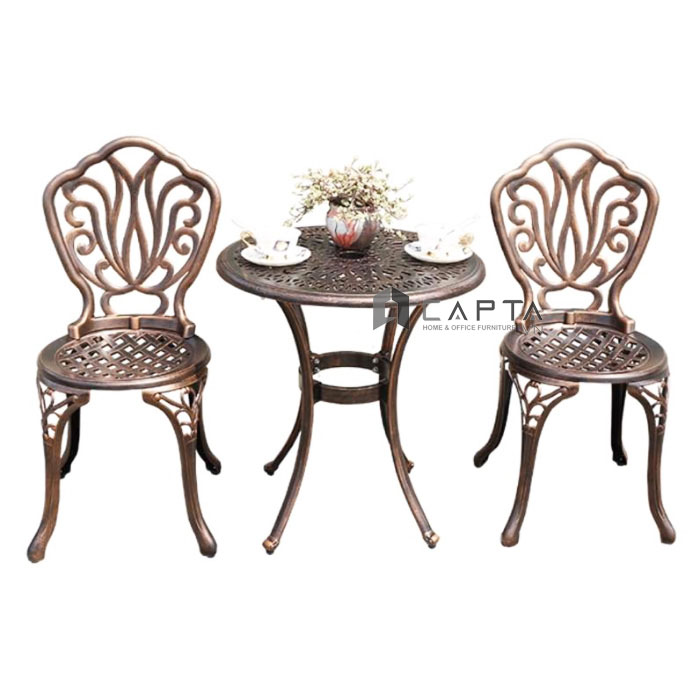 Bộ bàn ghế cafe sân vườn mặt bàn tròn nhôm đúc nhập khẩu