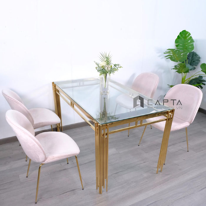 Bộ bàn ăn mặt kính cường lực 4 ghế vải nhung nhập khẩu