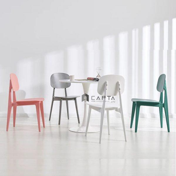 Bộ bàn tiếp khách tròn Tulip và 4 ghế nhựa đúc