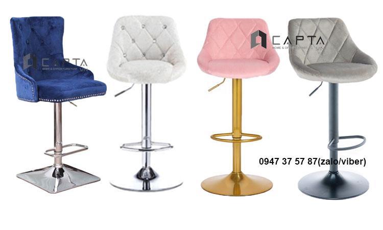 Ghế quầy bar bọc vải nhung đẹp điều chỉnh độ cao nhập khẩu giá rẻ tại TpHCM