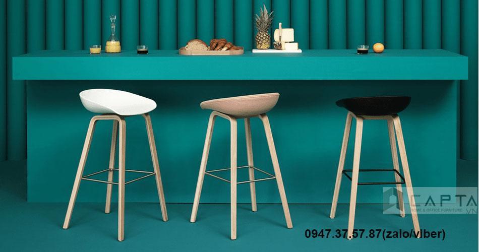 Ghế quầy bar stool chân gỗ nhập khẩu giá rẻ tại TpHCM