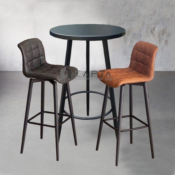 Bộ bàn ghế quầy bar chân cố định thân xoay 360 độ