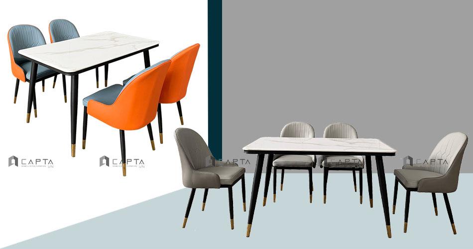 Bộ bàn ăn mặt đá 1m3 và 4 ghế ăn cao cấp