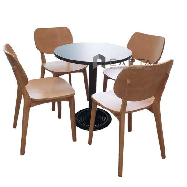 Bộ bàn cafe tiếp khách 4 ghế gỗ