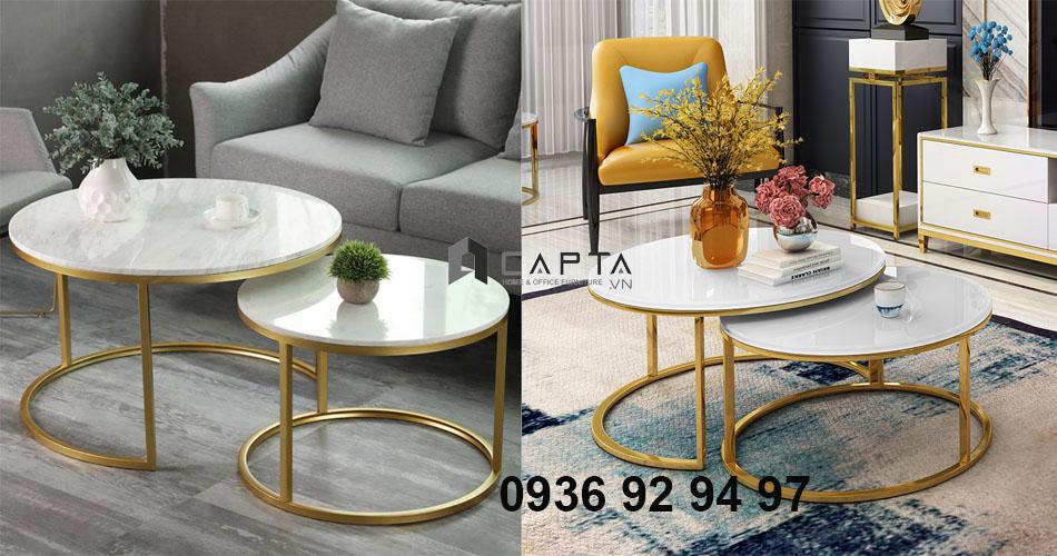 Mua bàn sofa mặt đá đẹp giá rẻ ở đâu - Bàn sofa đôi mặt đá chân inox mạ Vàng Gold TS NESTED GOLD-75