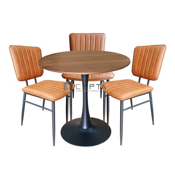 Bộ bàn ghế cafe tiếp khách mặt gỗ Veneer 80 cm hiện đại SL TE Tulip 2-08W1 / RETRO-P