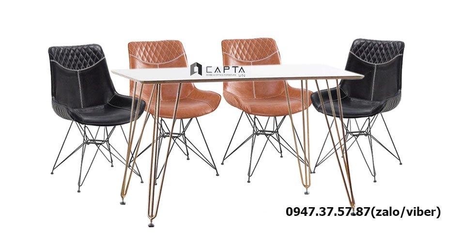 SD TN HAIRPIN-14 / LUX 3A-P Bộ bàn ghế ăn 1m4 chân mạ vàng gold cho 4 người giá rẻ tại HCM