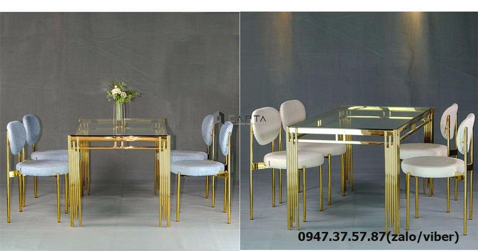 SD TN1220-14G / VERPAN 2-F bộ bàn ghế ăn 1m4 chân mạ vàng gold cho 4 người giá rẻ tại HCM
