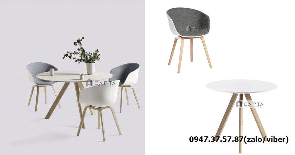 SL HAY-F1 / HAY-06W Mẫu bàn ghế chân gỗ phòng khách 3 - 4 người nhỏ đẹp giá rẻ tại HCM