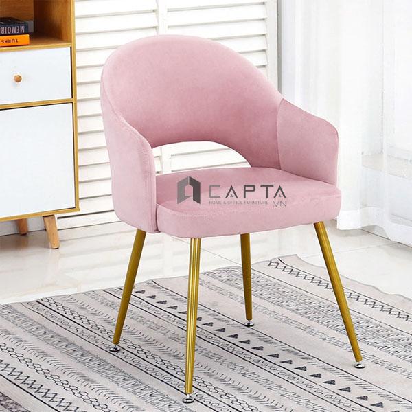 Ghế trang điểm nệm bọc vải nhung chân mạ vàng đồng hiện đại LARA 1B-F màu hồng