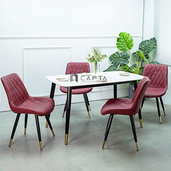 Bộ bàn ăn 4 ghế 1m4 mặt đá SALA chân bọc ống đồng cao cấp SD TN SALA-14E / LUX 6C-P