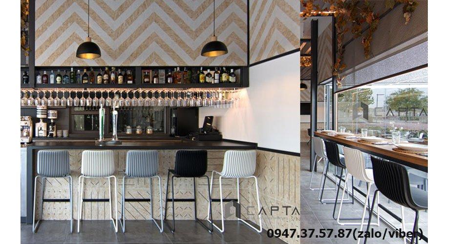 CB LAVORO Ghế bar nhà hàng cao cấp chân sắt cố định nhập khẩu tại HCM