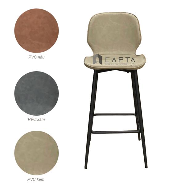 Ghế quầy bar cao 65 cm có lưng tựa bọc PVC nhập khẩu CB2150-65P