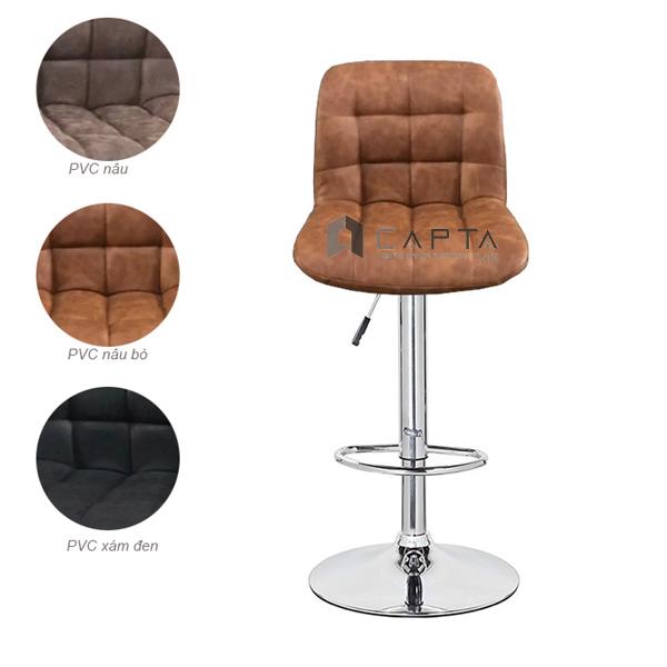 Ghế quầy bar nệm dày bọc PVC phong cách cổ điển CB2262-P