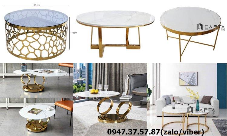 Mẫu bàn sofa tròn chân inox mạ màu vàng sang trọng tại HCM