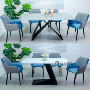 Bộ bàn ăn mặt đá và 4 ghế ăn Rio nệm da simili