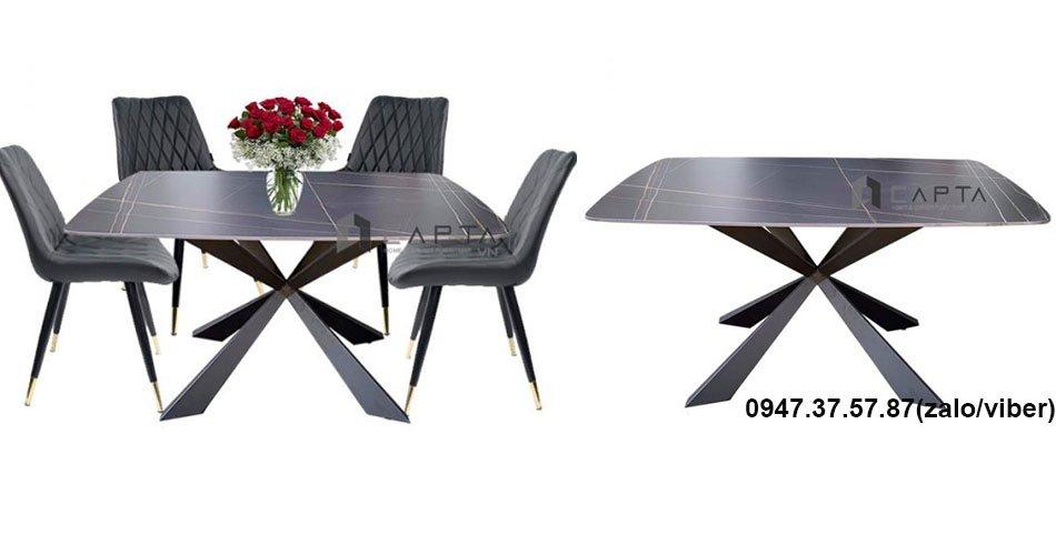 Bộ bàn ăn 4 ghế mặt đá phiến đẹp