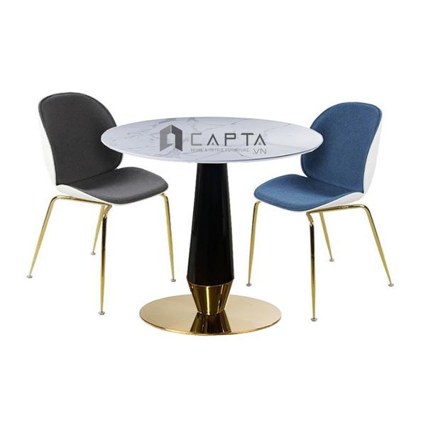 Bộ bàn tiếp khách mặt đá 2 ghế nệm vải chân mạ