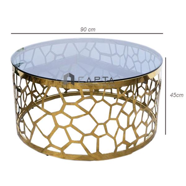 Bàn trà sofa mặt kính cường lực chân cắt CNC mạ vàng cao cấp TS0948 B - 09G