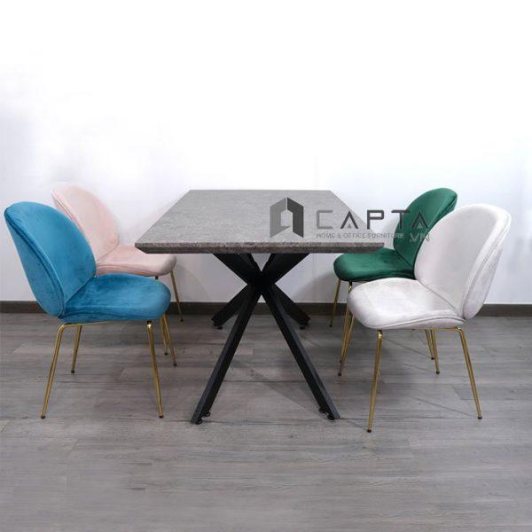 Bộ bàn phòng ăn 4 ghế nệm bọc vải nhung chân mạ Gold nhập khẩu