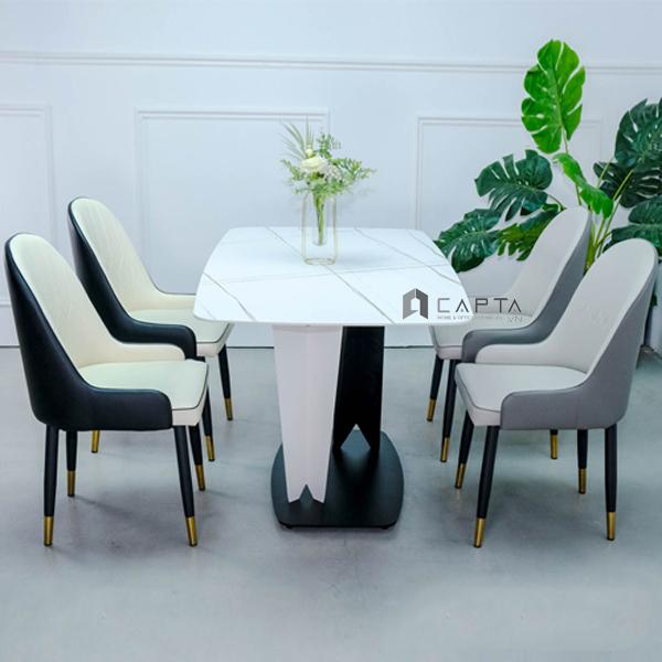 Bộ bàn ăn mặt đá phiến tự nhiên 4 ghế nhập khẩu
