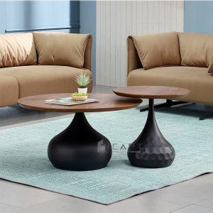 Bàn sofa mặt gỗ veneer chân sắt