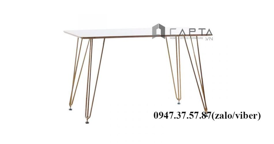 Bàn ăn chữ nhật Hairpin 1m4 chân sắt mạ màu Gold