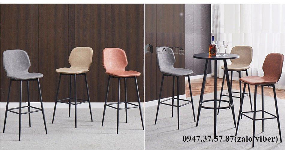 Bộ bàn bar tròn 3 ghế nệm da chân cố định hiện đại