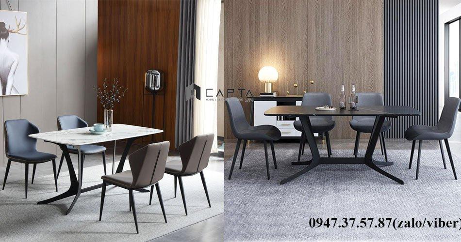 Bộ bàn ăn mặt đá hiện đại 4 6 ghế cho căn hộ chung cư tại HCM