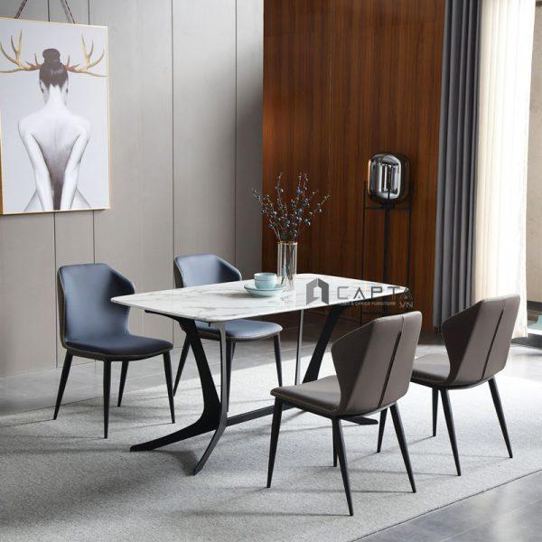 Bộ bàn ăn mặt đá cẩm thạch 4 ghế nhập khẩu
