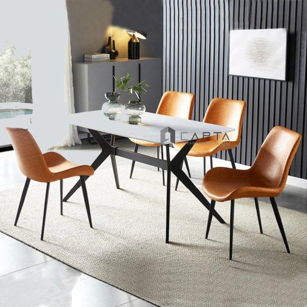 Bộ bàn ghế ăn mặt đá phiến 1m4 nhập khẩu