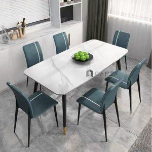 Bộ bàn ăn mặt đá 6 ghế Lux 17A-P cao cấp