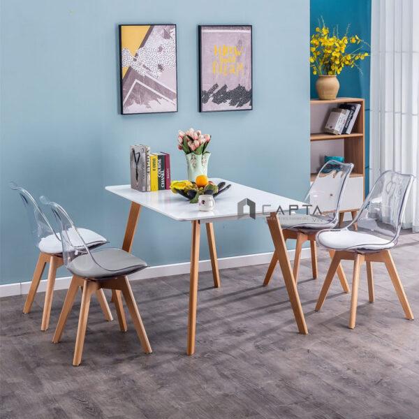 Bộ bàn ăn 4 ghế trong suốt có nệm
