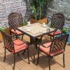 Bộ bàn trà cafe mặt đá vuông 4 ghế ngoài trời