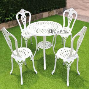 Bộ bàn ghế sân vườn 4 ghế phong cách châu Âu
