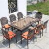 Bộ bàn ăn mặt đá sân vườn biệt thự 8 ghế