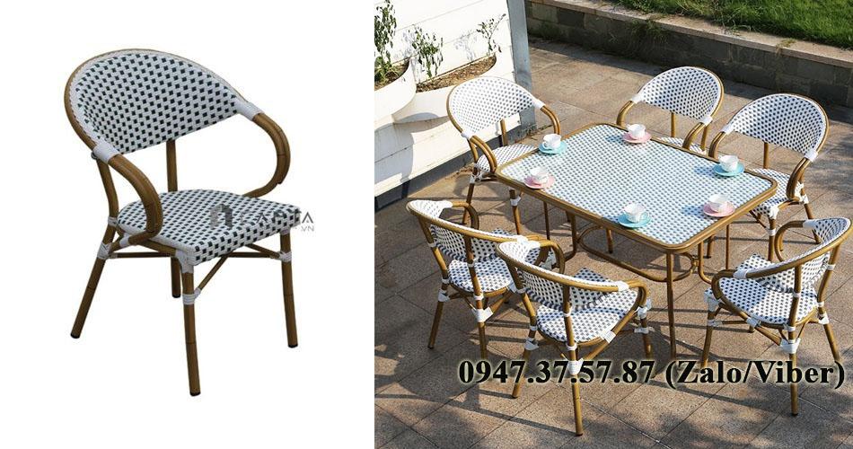 Bộ bàn ghế ăn ngoài trời 6 ghế bàn mặt kính hiện đại