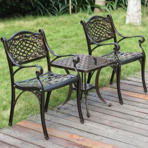 Bộ bàn trà vuông ngoài trời nhôm đúc 2 ghế